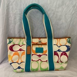 Vintage Coach Bag with Colored C's (Rainbow)